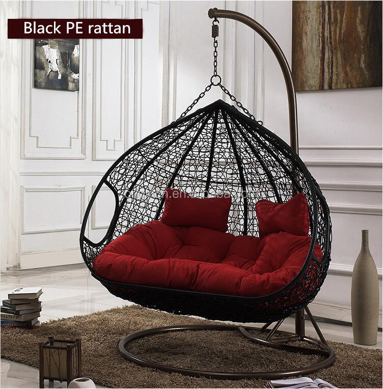 outdoor furniture double seats rattan egg hanging chair
