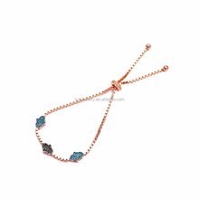 Factory Direct Sale Turquoise Stone Handmade Adjustable Tennis Silver Hand Bracelets Fashion Lady Bracelet