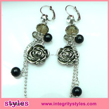 2015 newest long chain beads and alloy rose flower earrings