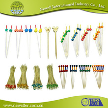 2014Wholesale ball bamboo picks with green skin