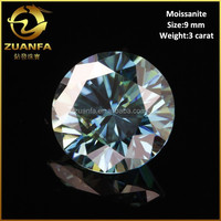 wuzhou quality tested excellent cutting 9mm natrual blue moissanite diamond