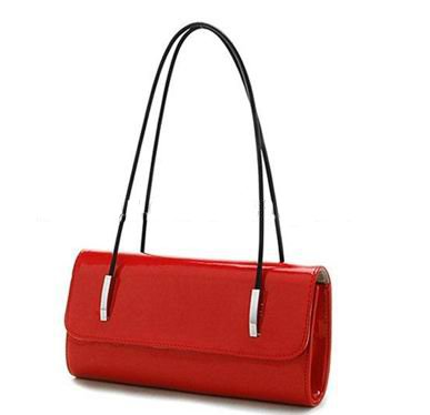Wholesale women brand name designer red shinny pu leather handbag with sexy design