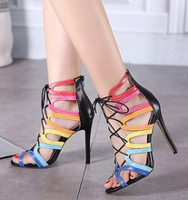 HFCS274 Europe Last Hollow design mulitcolor cross strap womens shoes sexy high heel sandals