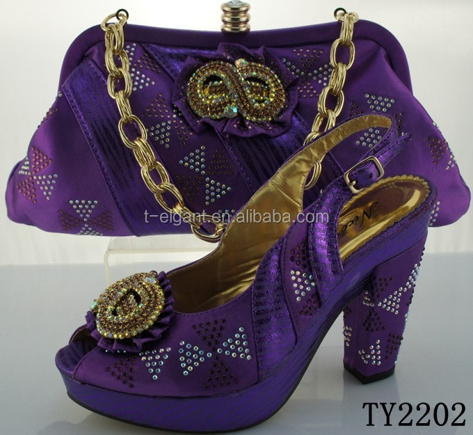 Purple color ladies party wear shoes high heel sandals african women shoes and bag set