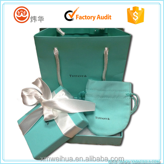 Custom Ribbon tied small tiffany blue gift box paper bag for jewel packaging