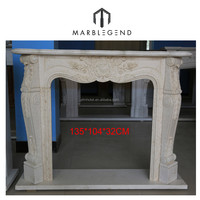 Hand carved Cheap Fireplace Mantel Indoor Marble Fireplace
