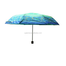 Double 170T printed fabric 3 folding umbrella from factory