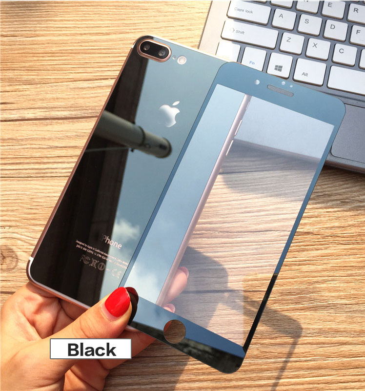 Popular Front and Back Cover Mirror tempered glass screen protector for iphone 7