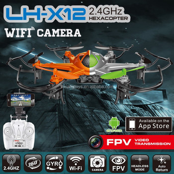 LH-X12WF 2.4G 6Axis RC Hexacopter Quadcopter with Camera RTF Drone FPV WIFI 4CH RC Drone Hexacopter