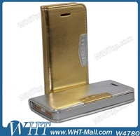 Luxury Gold Folio Leather Cover Case for iPhone 5