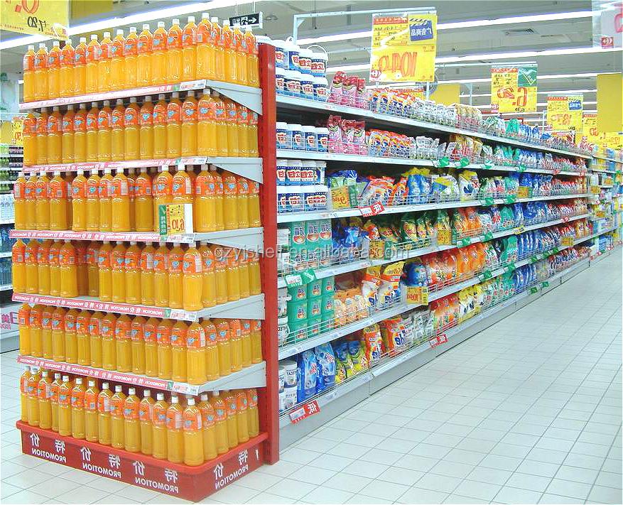Four Layers White Supermarket Display Rack Supermarket