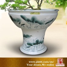 Jingdezhen hand painted ceramic pot with pedestal