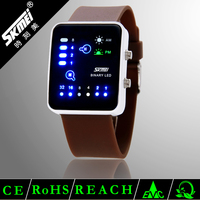 Diaphanous silicone wristband touch screen binary led watch