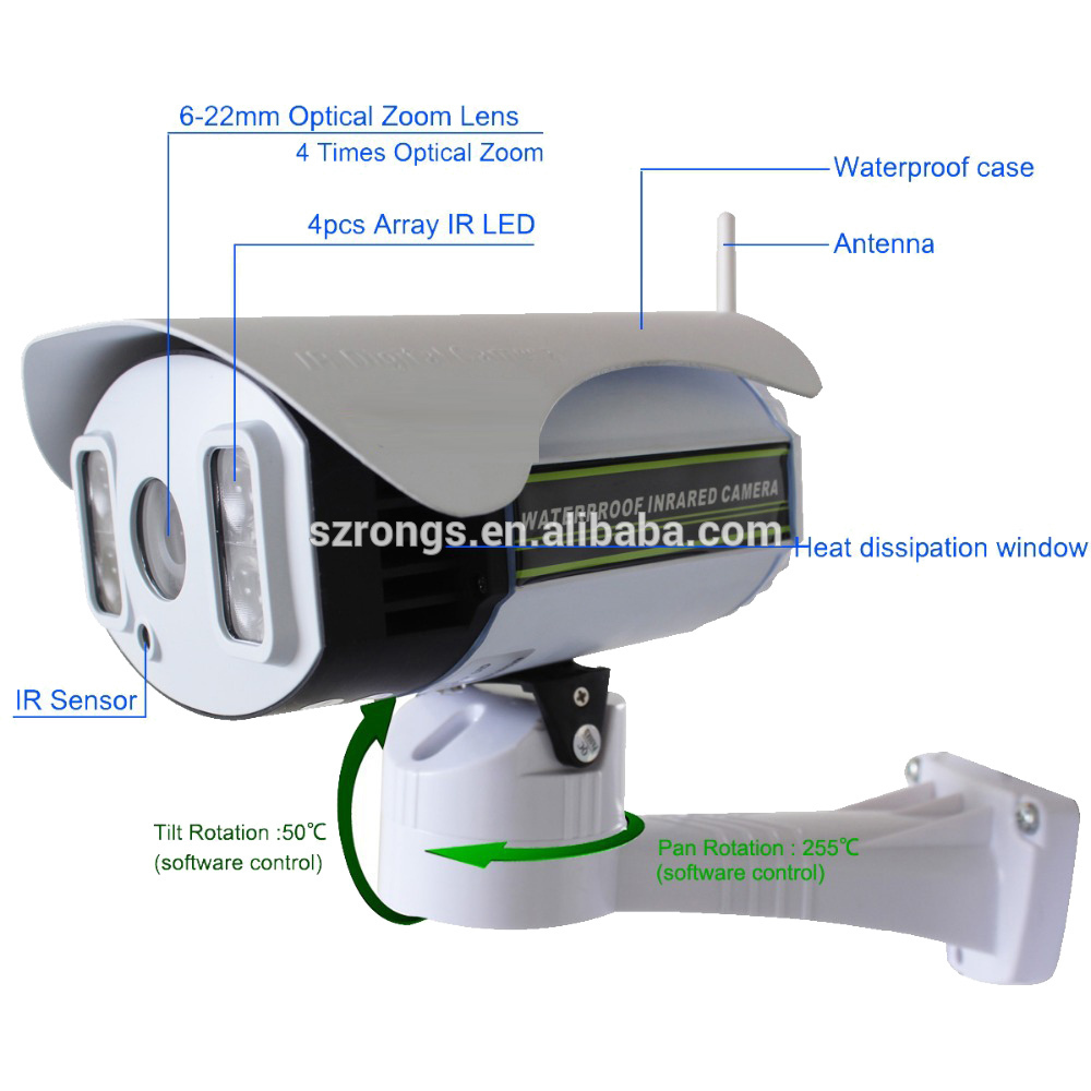 Ratingsecu Waterproof 1080P 2MP Outdoor IR Mini Pan Tilt Outdoor bullet Camera 4x Zoom