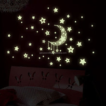 3D DIY Luminous Vinayl Wall Stickers Moon stars Glow in the Dark Wall Fluorescent Wall Art