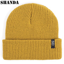 Winter Cheap Solid Color Custom Tag Stripe Fisherman Knit Beanie