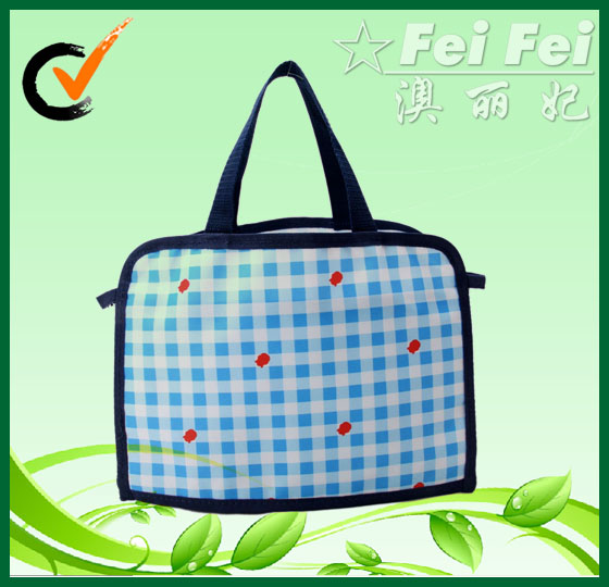 Blue lattice printing PP non woven laminated handbags for child