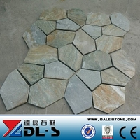 Beige Yellow Slate Landscaping Crazy Stone Flagstne Patio Tile With Mesh Backing