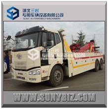 FAW 6x4 15ton flat bed wrecker truck with crane