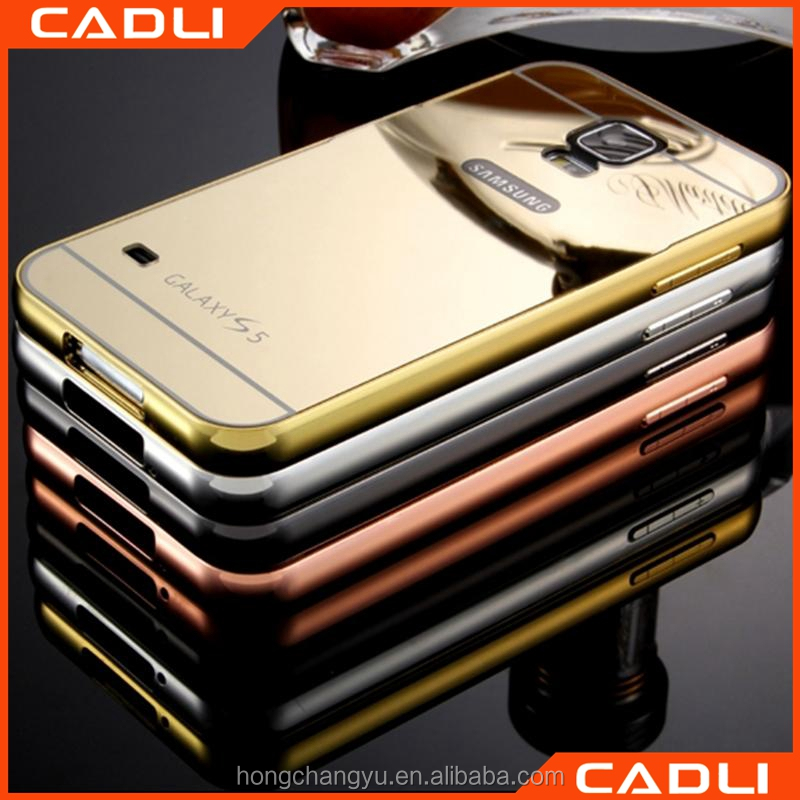 fancy mirror pc back cover with metal frame cell phone cover case for samsung galaxy s5