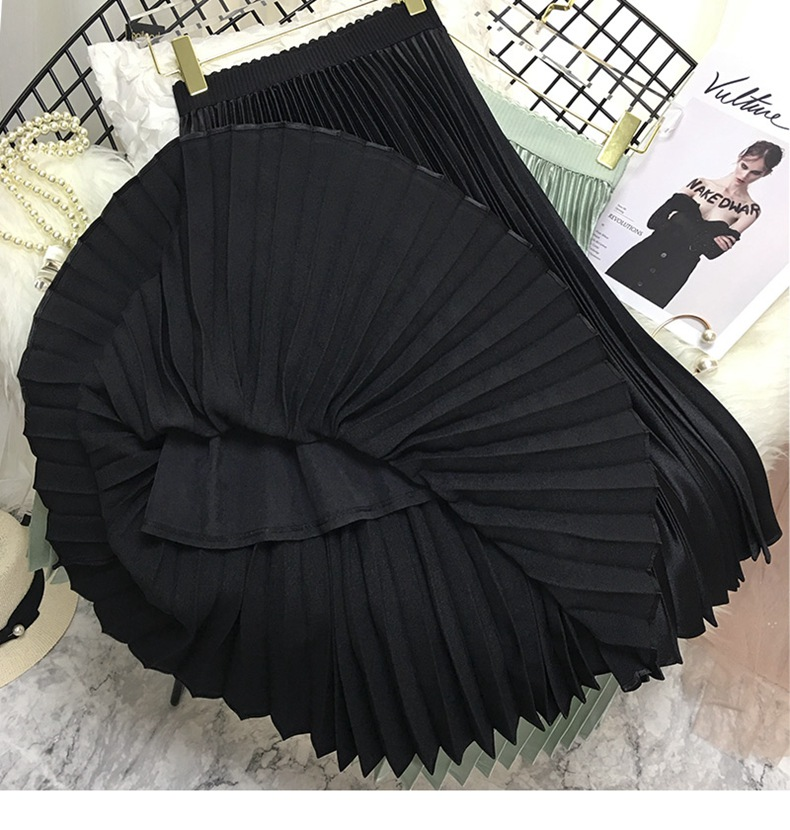 Chic metallochrome satin A-line pleated skirt China factory