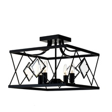 Metal cage 15 inches household modern black finish ceiling chandelier for semi flush mount lamp
