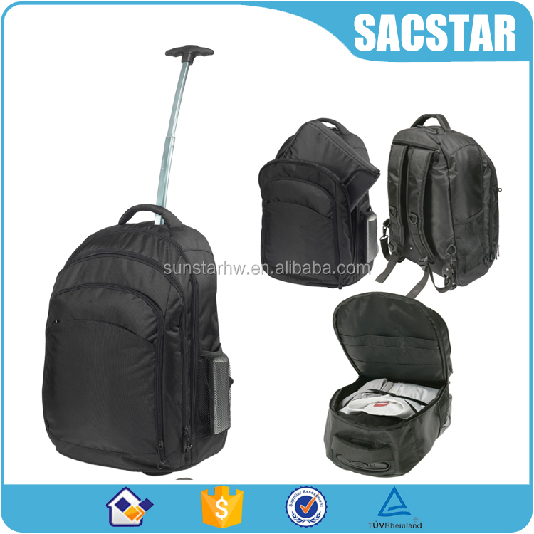 1680D black trolley backpack business laptop bag with wheels