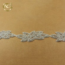 TL-84 Luxury Manufacturer Floral Handmade Chain Newest Style Sequin Rhinestone Applique Trimming