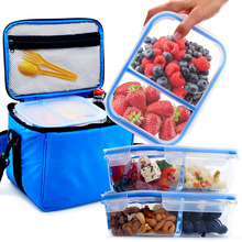 Glass Meal Prep Containers BPA Free in Large Insulated Lunch Box/Bag Kit - Leakproof Compartments - Best Reusable Food Storage