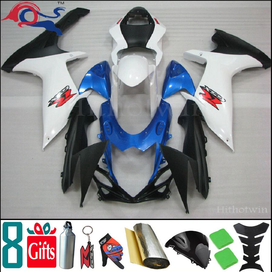 8Gifts+injection mold GSX-R600 2011 2012 GSX-R750 motorcycle fairing For SUZUKI GSX-R600/750 11 12 K11 cover blue white