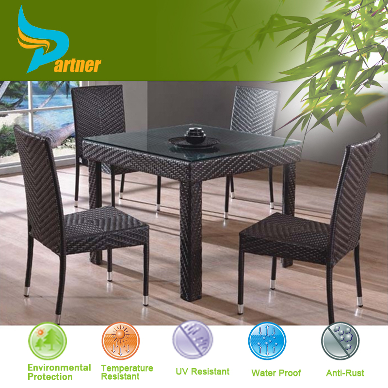 Waterproof Rattan Cane Royal Dining Table Chair Set / Outdoor Furniture / Patio Dining Set Luxury Chair and Table