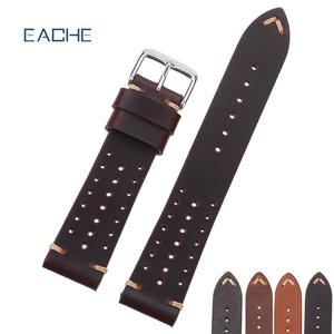 EACHE Specail 홀 18mm 20mm 22mm Stock Genuine Leather Rally Racing Band Watch 대 한 Man & Woman