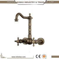 2015Artistic Wall Mounted Two Handles Crystal Antique Brass Kitchen Faucet Deck Mounted Golden One Hole Bronze Wash Basin Faucet