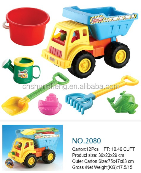 summer toy Plastic beach toy truck with bucket and tool