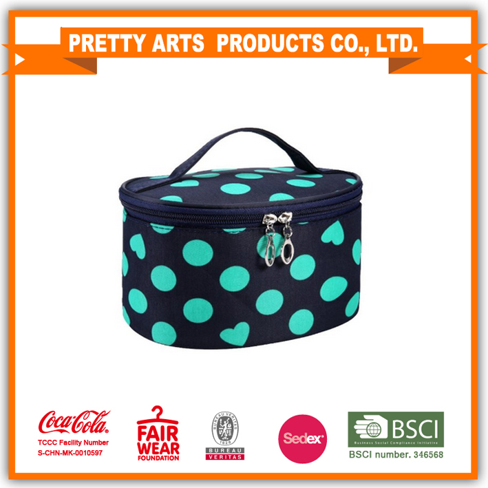BSCI SEDEX Pillar 4 really factory Handle Round Dot Large Cosmetic Bag Travel Makeup Organizer Case Holder With Mirror