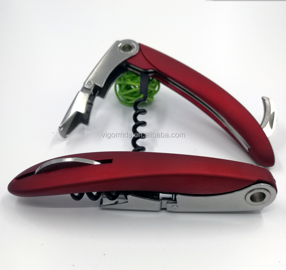 (OP-207RD) 2017 New Double Lever High Quality Red Rubberized Handle Wine Key Corkscrew Bottle Opener