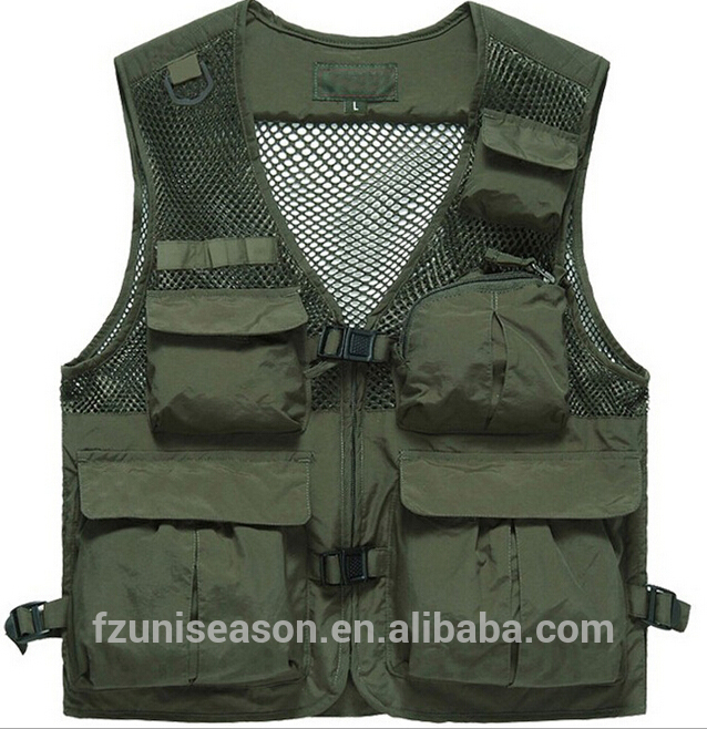 men fishing vest custom Waistcoats fly fishing clothing outdoor army green vest
