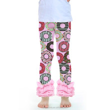 Kaiya spring doughnut print kids legging with pink ruffle wholesale icing pants
