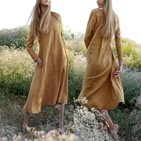 Ladies Simple Fashion Dress Linen Women's Long Sleeve Maxi Dress in Yellow color