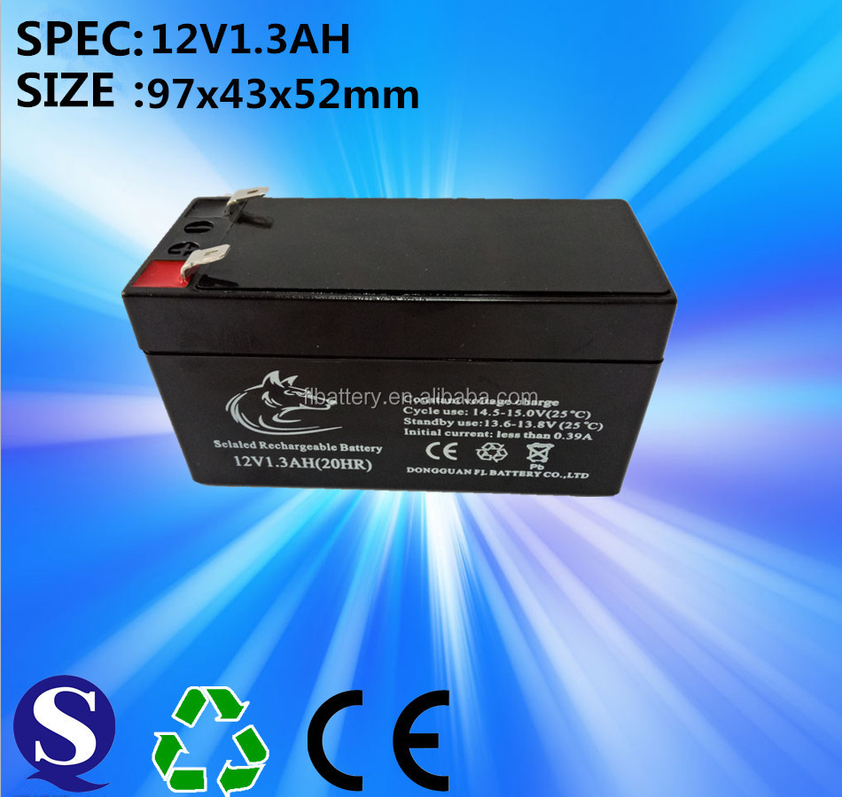 front terminal sealed rechargeable lead acid battery 12v 1.3Ah use for solar street light
