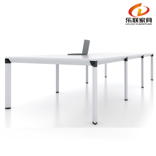 Foshan Factory hot sale MFC board room white meeting table in aluminum frame