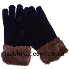 Feather touchscreen gloves Ladies 3 fingers feather gloves
