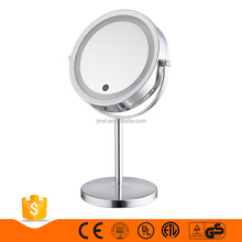 CE Chrome plating round silver metal smart 10x magnifier led touch screen makeup mirror