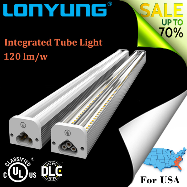 GUANGDONG UL ETL DLC led tube light t5 light fittings and fixture 8ft 60w