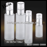 100ml round shape frosted pump cosmetic glass container , cosmetic pump bottle, skin care glass lotion bottle
