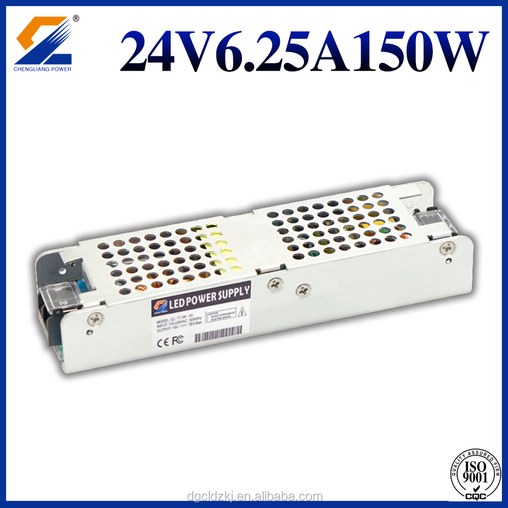 90-245VAC 24VDC Single Output Slim LED Driver 24V 0-6.2A 150W Switching Power Supply or Transformer For LED Strip