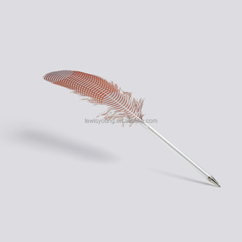 Colorful feather ball pen with PET pen barrel/Quill ball pen with logo design