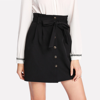 Summer Black Color Self Belt Button Up Skirt
