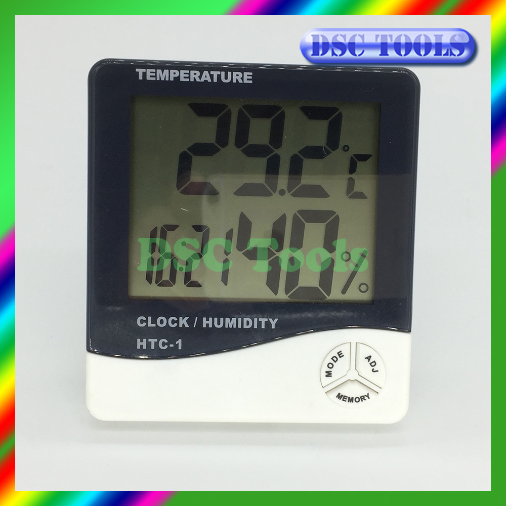 large LCD digital thermograph hygrometer with humidity temperature display time display