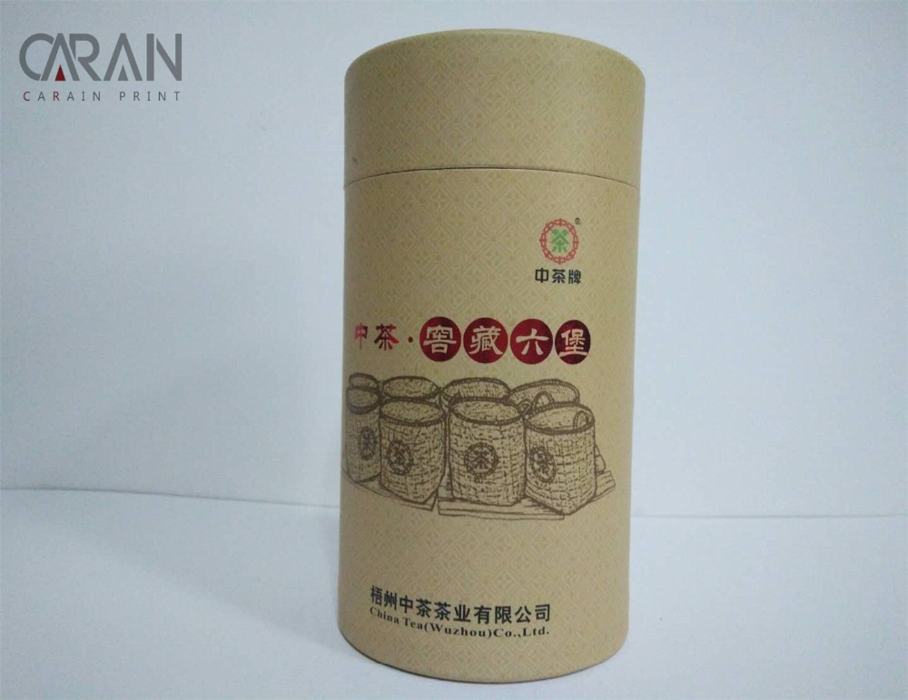 Brown Kraft Paper Custom Printing Green Tea Packaging Tube with Aluminium Foil Inside